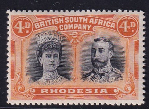 RHODESIA 1910 4d  DOUBLE HEAD FINE MINT SG 138 #2