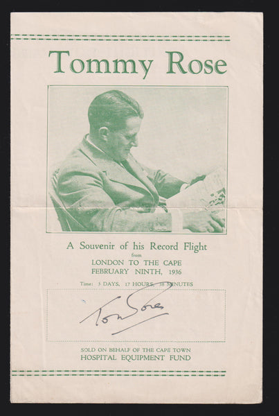1936 TOMMY ROSE RECORD  FLIGHT LONDON - JOHANNESBURG