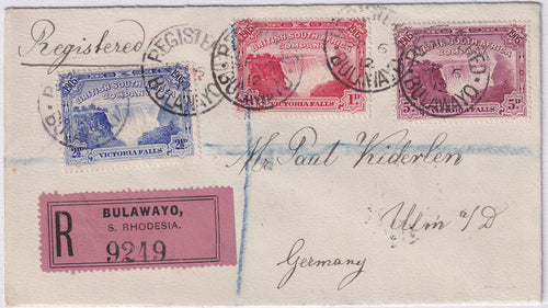 RHODESIA 1912 VICTORIA FALLS REGISTERED COVER
