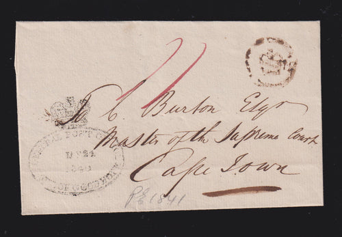 CAPE OF GOOD HOPE 1840 PORT ELIZABETH TO CAPETOWN COVER