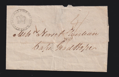 "CAPE OF GOOD HOPE COVER ADDRESSED TO ""CAPE GOODHOPEN"""