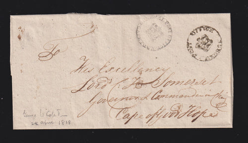 CAPE OF GOOD HOPE 1818 GEORGE - CAPETOWN COVER ADDRESSED TO LORD SOMERSET