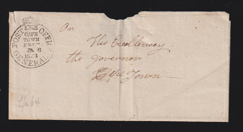 CAPE OF GOOD HOPE 1831 COVER ADDRESSED TO THE GOVERNOR