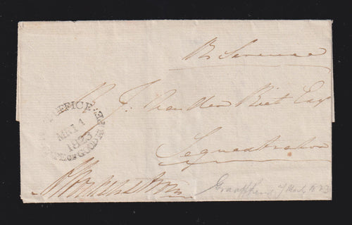 "CAPE OF GOOD HOPE 1823 OVAL  ""LETTER STAMP"" COVER"