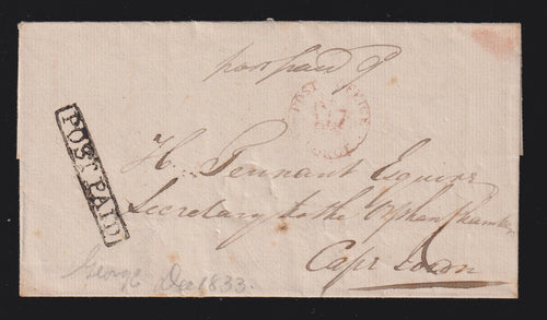 CAPE OF GOOD HOPE 1833 GEORGE - CAPETOWN - SCARCE