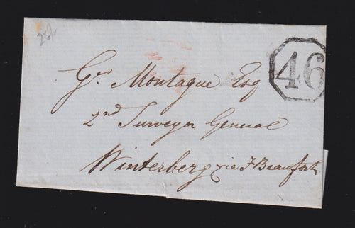 CAPE OF GOOD HOPE 1849  OCTAGONAL NUMERAL 46 GRAHAMSTOWN COVER - RARE