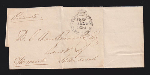 "CAPE OF GOOD HOPE 1826  ""POST OFFICE FREE"" COVER CAPETOWN-STELLENBOSCH"