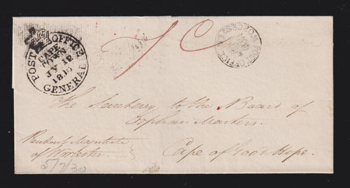CAPE OF GOOD HOPE 1830 WORCESTER TO CAPETOWN COVER
