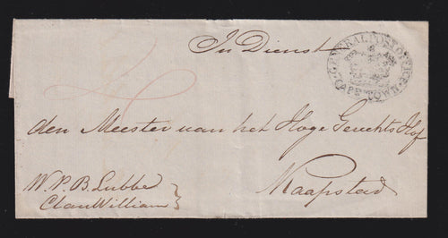 CAPE OF GOOD HOPE 1840'S CAPETOWN GPO COVER