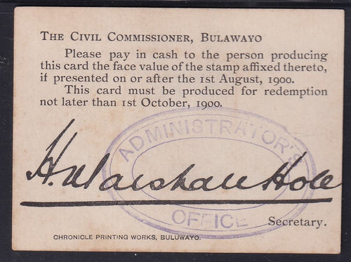 ANGLO BOER WAR 2/- MARSHALL HOLE CARD