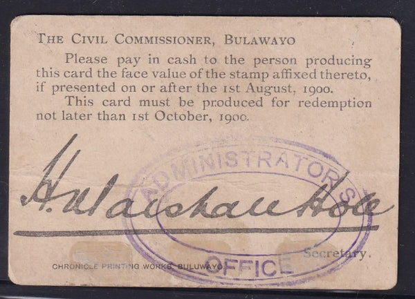 ANGLO BOER WAR 10/- MARSHALL HOLE CARD