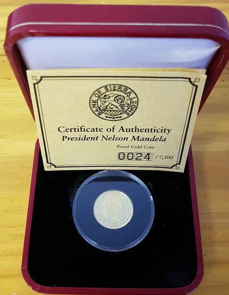 SIERRA LEONE 2004 NELSON MANDELA PROOF ONE TENTH OUNCE