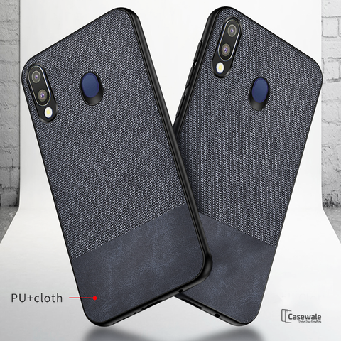 Dual Color Leather + Natural Cloth Texture Case For Galaxy M20