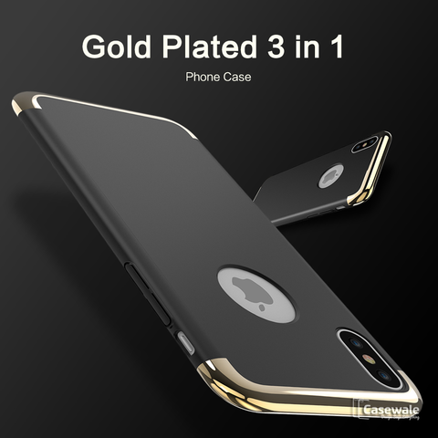Luxury 3 in 1 Gold Plating Matte Case for iPhone X