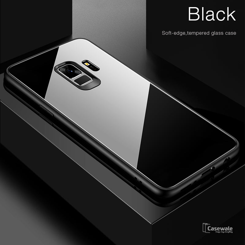 hot sale online 080bf e7ce0 Luxury Tempered Glass Protective Case for Galaxy A6/ A6 Plus