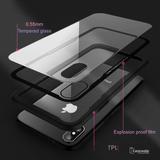 Luxury Black & Red Transparent Glass Case For iPhone X [Best Selling Case]