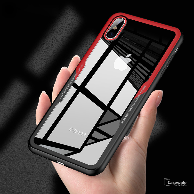 promo code a8bd3 62fb4 Luxury Black & Red Transparent Glass Case For iPhone X [Best Selling Case]
