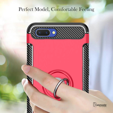 Luxury Armor Magnetic Car Holder Case for Oppo F9 Pro