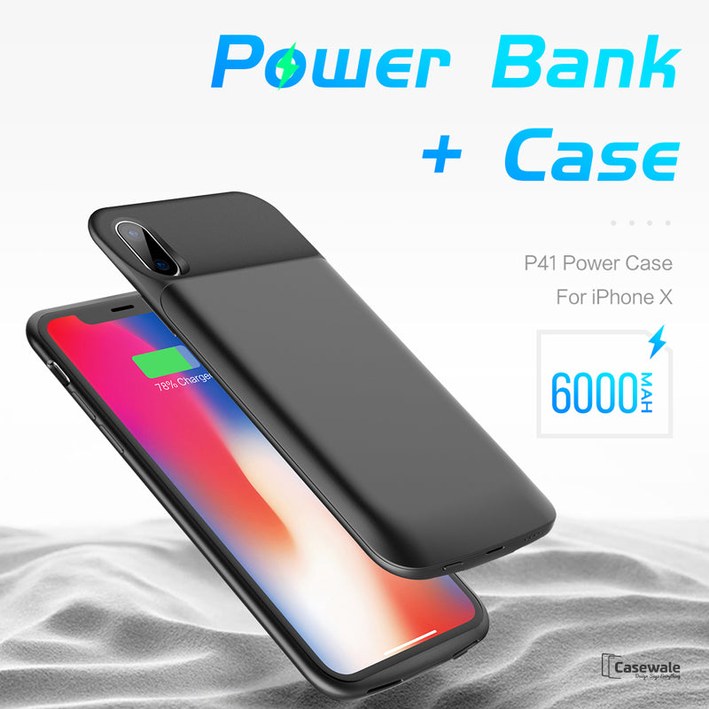 6000mah Power Bank Battery Charger Case For Iphone X Casewale