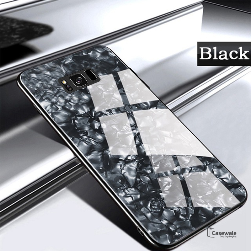 timeless design 791ad 153fc Marble Pattern Tempered Glass Case for Galaxy S8/ S8 Plus