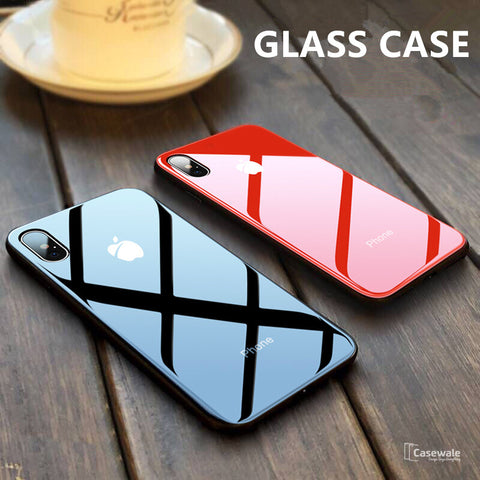 Luxury Slim Tempered Glass Apple Logo Case for iPhone X