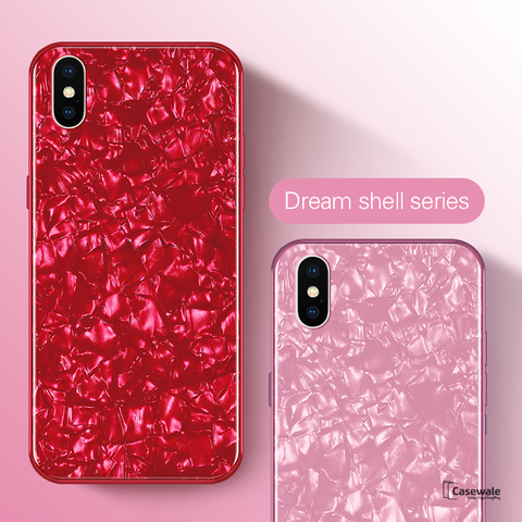 Luxury Marble Pattern Tempered Glass Case For Apple iPhone X