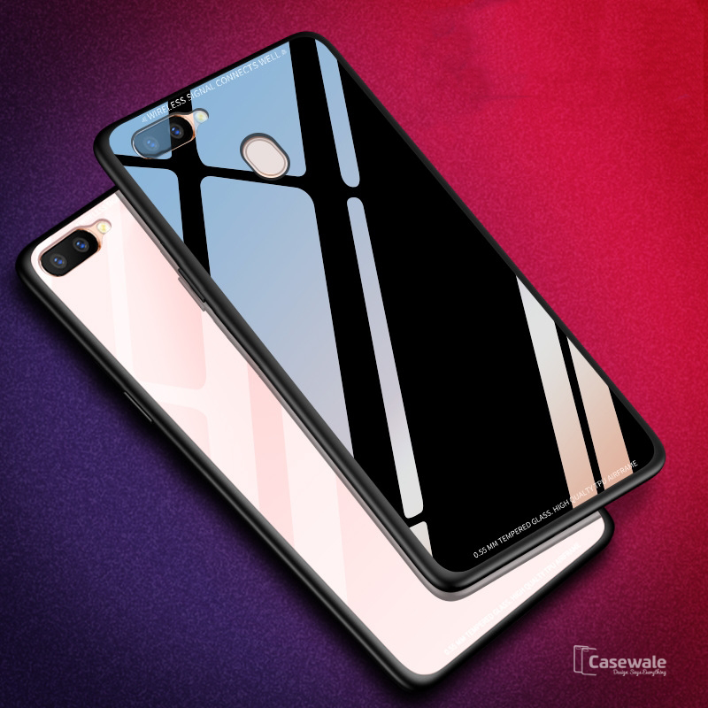 hot sale online fff92 e8469 Smooth Luxury Ultra Thin Glass Shell Case for Oppo F9 Pro