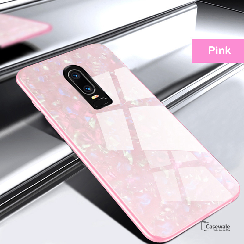 detailed look e9009 4921d Luxury Marble Pattern Glass Case for OnePlus 6