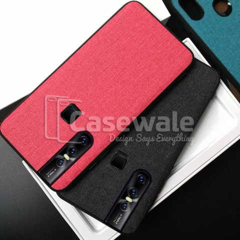 Luxury Silicone Edge+Hard Cloth Texture Case For Vivo V15