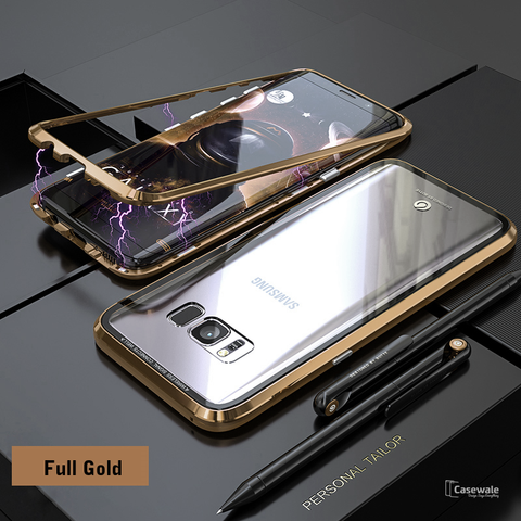 9fc075a28bf2 Electronic Auto-Fit Magnetic Glass Case for Galaxy S8/ S8 Plus