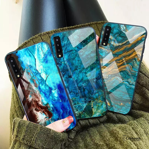 Luxury Artistic Marble Glass Case for Galaxy A7 2018