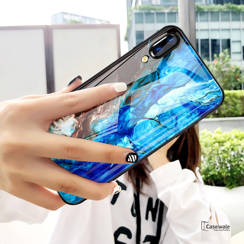 Luxury Sea Pattern Marble Glass Case for Vivo V11 Pro