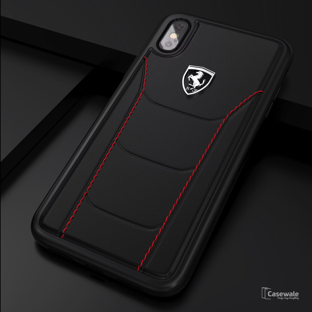 Ferrari F9: Ferrari Rode Heritage Leather Quilted Hard Case For IPhone