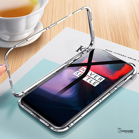 Electronic Auto-Fit Magnetic Glass Case for OnePlus 6
