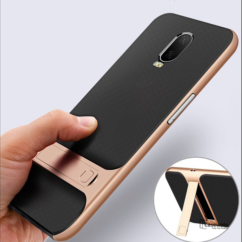 Armor Silicon Bracket With Kick Stand Case For OnePlus 6T