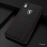 Ferrari Black Heritage Leather Hard Phone Case iPhone XS