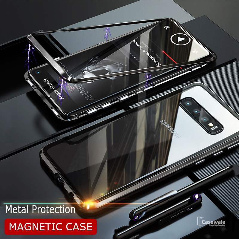 cheap for discount ea1c8 7a595 Electronic Auto-Fit Magnetic Glass Case for Galaxy S10/ S10 Plus
