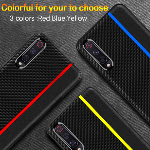 Original CENMASO Carbon Fiber PU Leather Case For Galaxy A70