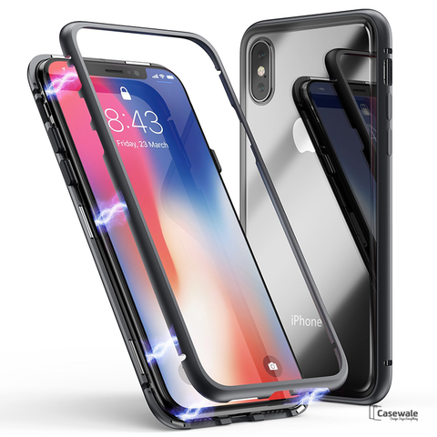 Electronic Auto-Fit Magnetic Glass Case for iPhone X
