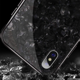 Marble Magnetic Auto-fit Tempered Glass Case for iPhone X