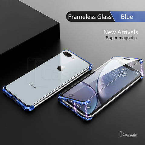 Frameless Magnetic Double Sided Glass Case for iPhone 6 / 7 / 8