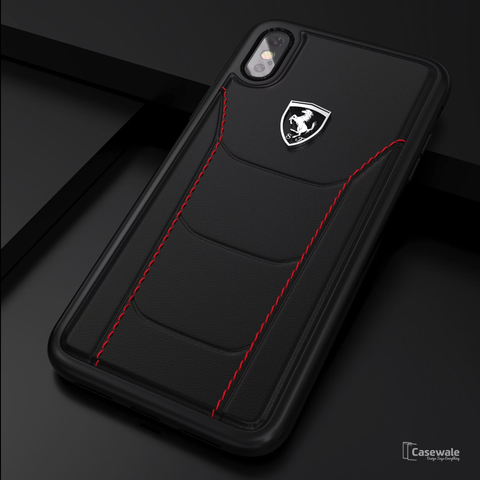 Ferrari Black Heritage Leather Hard Case iPhone X