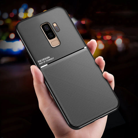 IQS Design Soft Leather Texture Case with Magnetic Car Vent for Galaxy S9 / S9 Plus