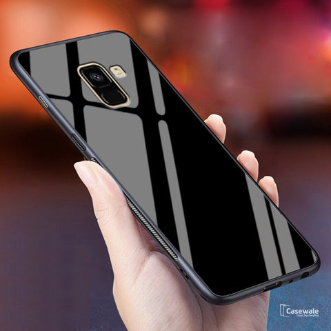 Luxury Tempered Glass Full Protective Case for Galaxy A8 Plus