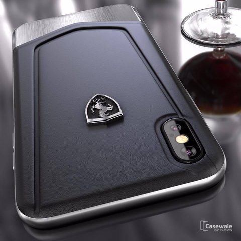 Ferrari Aluminium V Stripe Genuine Leather Case for iPhone XS