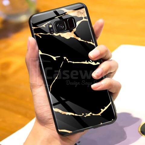 Golden Lighting Luxury Marble Case for Galaxy S8/ S8 Plus