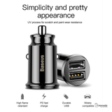 Baseus Mini Dual USB Car Charger Adapter For iPhone, Samsung