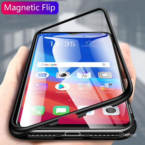 Electronic Auto-Fit Magnetic Glass Case Oppo F9