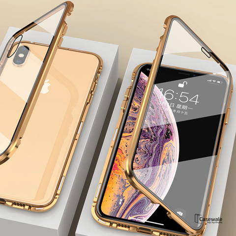 Double Sided Tempered Glass Magnetic Case for iPhone X, XS or Max