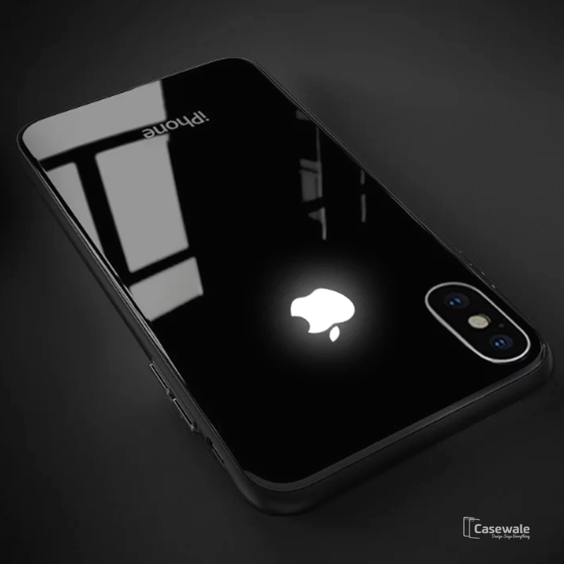 Luxury Smooth LED Light Apple Logo Case For iPhone XS